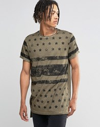 Asos Super Longline T Shirt With Stars And Stripes Flag Print Khaki Green