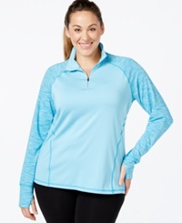 Ideology Plus Size Quarter Zip Space Dyed Sport Jacket Only At Macy's Crystal Mist
