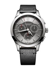 Victorinox Stainless Steel Chronograph Pebbled Leather Strap Watch Grey