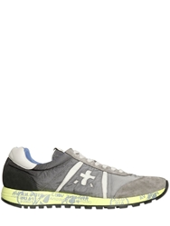 Premiata Lucy Washed Nylon And Suede Sneakers Grey