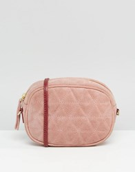 Asos Quilted Oval Suede Cross Body Bag With Chain Strap Pink