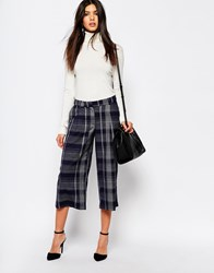 Mango Check Wide Leg Crop Trousers Grey