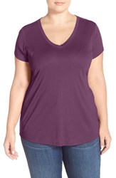 Plus Size Women's Sejour Short Sleeve V Neck Tee Purple Italian