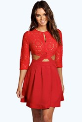 Boohoo Lace Cutout Side Skater Dress Red