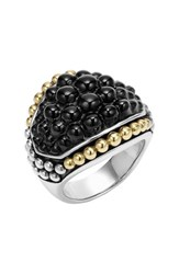 Lagos Women's 'Black Caviar' Dome Ring Silver Gold Onyx