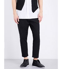 Isabel Benenato Loose Fit Tapered Cotton Trousers Black