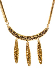 Kara Ross Goldtone Arc Pendant Necklace With Dangling Spikes