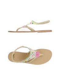 Pin Up Stars Thong Sandals White