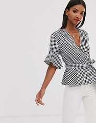 Ax Paris Cross Over Ruffle Sleeve Belted Crop Blouse Multi
