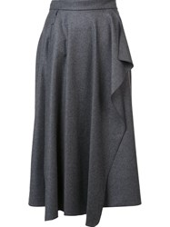 Maison Rabih Kayrouz Pleated Draped Detail Skirt Grey