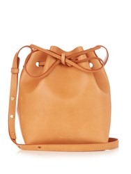 Mansur Gavriel Yellow Lined Mini Leather Bucket Bag Tan Multi