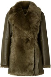 Theory Shearling Coat Army Green