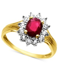 Macy's 10K Gold Ring Ruby 3 4 Ct. T.W. And Diamond Accent