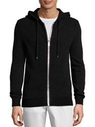 Michael Kors Ribbed Cashmere Hoodie Black