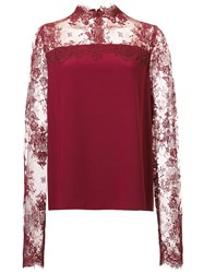 Monique Lhuillier Lace Panel Blouse Red