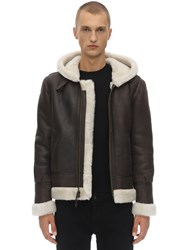 Schott Lc 1259 Hooded Shearling Aviator Jacket Brown