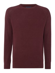 Criminal Keymoor Raglan Crew Neck Jumper Burgundy