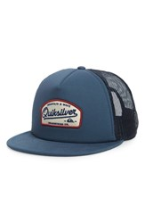 Quiksilver Past Checker Trucker Hat Blue Dark Denim
