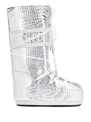 Moon Boot Drawstring Boots Silver