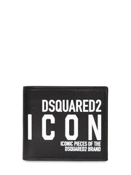 Dsquared New Icon Print Leather Billfold Wallet Black