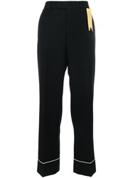 The Gigi Contrast Piping Trousers Virgin Wool Black