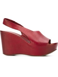 Roberto Del Carlo Wedge Sandals Red