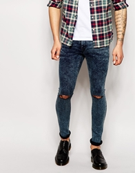 Asos Extreme Super Skinny Jeans In Acid Wash With Knee Rips Blue