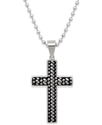 Macy's Men's Woven Cross Pendant Necklace In Stainless Steel