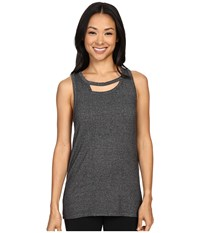 Zobha Tank Top W Back Trim Detail And Double Neckline Heather Black Women's Workout