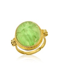 Tagliamonte Three Graces 18K Gold Green Mother Of Pearl Cameo Ring
