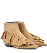 J.W.Anderson Ruffle Suede Ankle Boots Beige