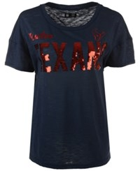 G3 Sports Women's Houston Texans In The Game Sequin T Shirt Navy