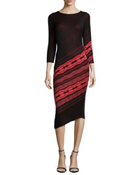 Yoana Baraschi 3 4 Sleeve Angled Stripe Dress Black Ruby Coral