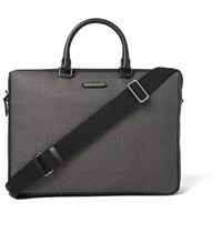 Ermenegildo Zegna Leather Trimmed Chevron Canvas Briefcase Dark Gray