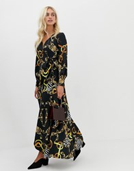 Zibi London Wrap Front Chain Patterned Midi Dress With Slip Detail Black