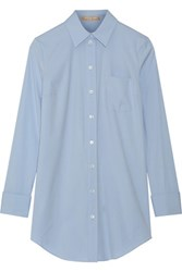 Michael Kors Collection Stretch Cotton Poplin Shirt Sky Blue