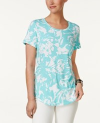 Jm Collection Printed T Shirt Only At Macy's Aqua Blown Bloom