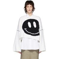 Raf Simons White Oversized Wool Smiley Crewneck Sweater