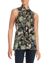 Highline Collective Floral Print Bow Tie Top Black Multi