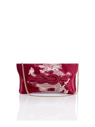 Shanghai Tang Dragon Embroidery Silk Knot Clutch Burgundy