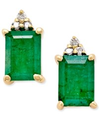Macy's Emerald 1 7 8 Ct. T.W. And Diamond Accent Stud Earrings In 14K Gold Green