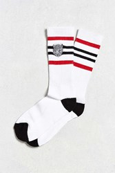 Urban Outfitters Embroidered Snow Leopard Striped Sport Sock White