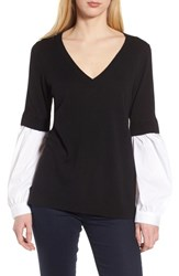 Trouve Woven Sleeve Sweater Black White Combo