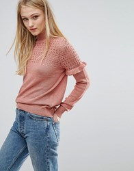 Vila Ruffle Detail Jumper Rose Dawn Pink