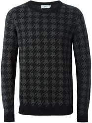 Closed Houndstooth Pullover Sweater Grey