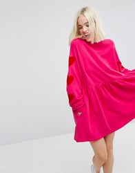 Lazy Oaf Oversized Sweat Dress With Velvet Heart Arm Patches Pink