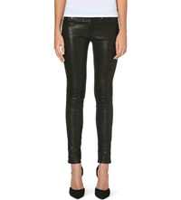 Rag And Bone Skinny Mid Rise Leather Trousers Washed Black