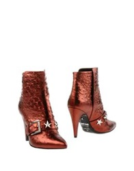 Just Cavalli Ankle Boots Brick Red