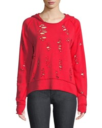 Generation Love Sierra Destroyed Hooded Sweater Red