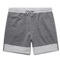 Helbers Linen Trimmed Melange Loopback Cotton Jersey Shorts Dark Gray